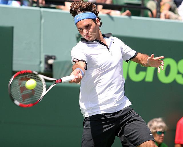Racket path of Federer